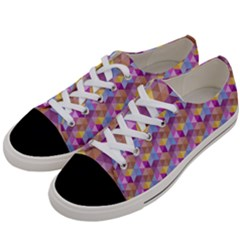 Hexagon Cube Bee Cell Pink Pattern Women s Low Top Canvas Sneakers by Cveti