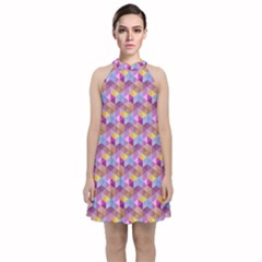 Hexagon Cube Bee Cell Pink Pattern Velvet Halter Neckline Dress