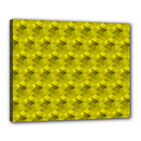 Hexagon Cube Bee Cell  Lemon Pattern Canvas 20  X 16
