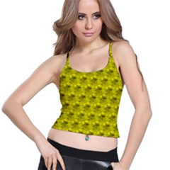 Hexagon Cube Bee Cell  Lemon Pattern Spaghetti Strap Bra Top by Cveti