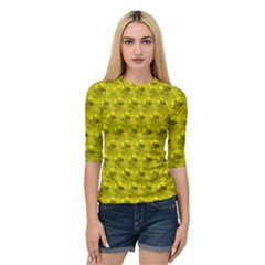 Hexagon Cube Bee Cell  Lemon Pattern Quarter Sleeve Raglan Tee