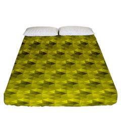 Hexagon Cube Bee Cell  Lemon Pattern Fitted Sheet (california King Size)