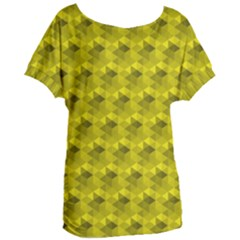 Hexagon Cube Bee Cell  Lemon Pattern Women s Oversized Tee