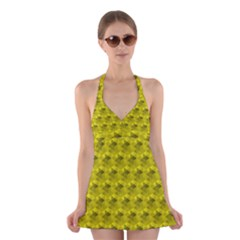 Hexagon Cube Bee Cell  Lemon Pattern Halter Dress Swimsuit  by Cveti