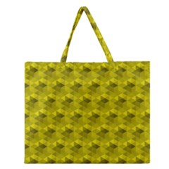 Hexagon Cube Bee Cell  Lemon Pattern Zipper Large Tote Bag