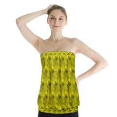 Hexagon Cube Bee Cell  Lemon Pattern Strapless Top