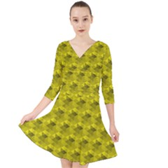 Hexagon Cube Bee Cell  Lemon Pattern Quarter Sleeve Front Wrap Dress