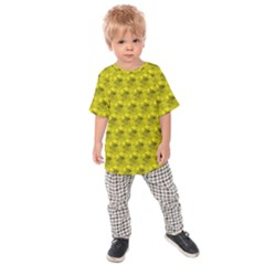Hexagon Cube Bee Cell  Lemon Pattern Kids Raglan Tee