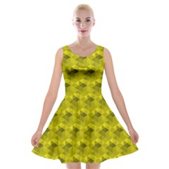 Hexagon Cube Bee Cell  Lemon Pattern Velvet Skater Dress
