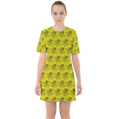 Hexagon Cube Bee Cell  Lemon Pattern Sixties Short Sleeve Mini Dress