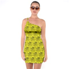 Hexagon Cube Bee Cell  Lemon Pattern One Soulder Bodycon Dress