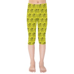 Hexagon Cube Bee Cell  Lemon Pattern Kids  Capri Leggings