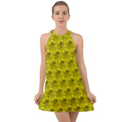 Hexagon Cube Bee Cell  Lemon Pattern Halter Tie Back Chiffon Dress