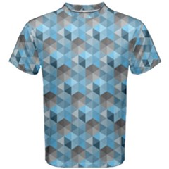 Hexagon Cube Bee Cell  Blue Pattern Men s Cotton Tee