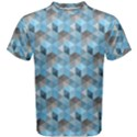 Hexagon-Cube-Bee cell- Blue Pattern Men s Cotton Tee View1