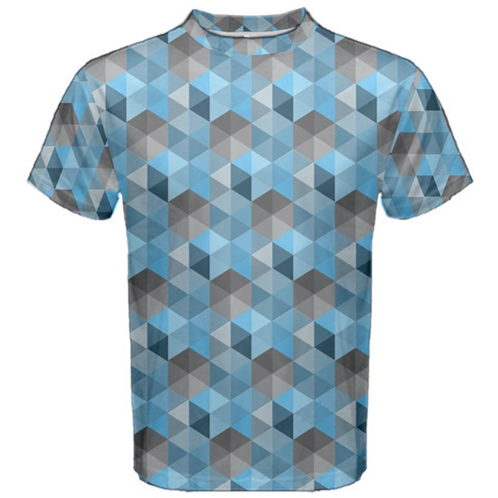 Hexagon-Cube-Bee cell- Blue Pattern Men s Cotton Tee