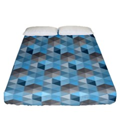 Hexagon-cube-bee Cell- Blue Pattern Fitted Sheet (queen Size)