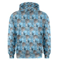 Hexagon Cube Bee Cell  Blue Pattern Men s Pullover Hoodie by Cveti