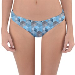Hexagon Cube Bee Cell  Blue Pattern Reversible Hipster Bikini Bottoms