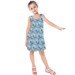 Hexagon Cube Bee Cell  Blue Pattern Kids  Sleeveless Dress
