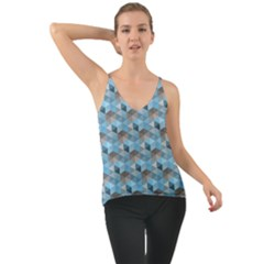 Hexagon Cube Bee Cell  Blue Pattern Cami