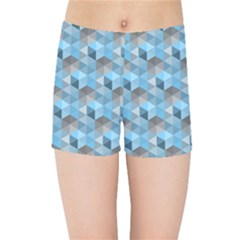 Hexagon Cube Bee Cell  Blue Pattern Kids Sports Shorts