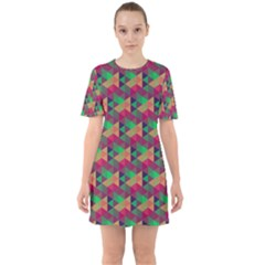 Hexagon-cube-bee Cell Pink Pattern Sixties Short Sleeve Mini Dress