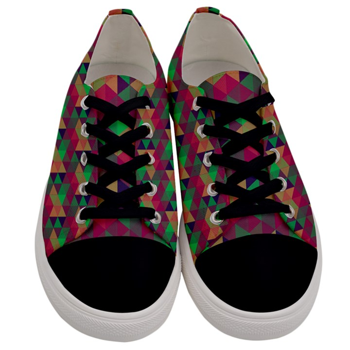 Hexagon-Cube-Bee cell Pink Pattern Men s Low Top Canvas Sneakers