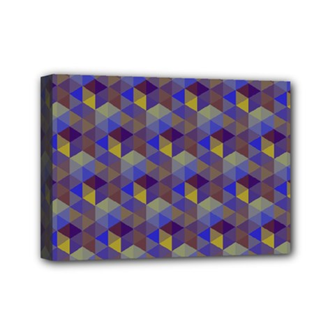 Hexagon Cube Bee Cell Purple Pattern Mini Canvas 7  X 5  by Cveti
