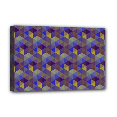 Hexagon Cube Bee Cell Purple Pattern Deluxe Canvas 18  X 12   by Cveti