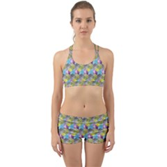 Hexagon Cube Bee Cell 1 Pattern Back Web Sports Bra Set by Cveti