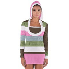 Pink Stripe Long Sleeve Hooded T-shirt by mayuskimbe