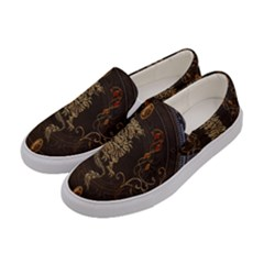 Golden Chinese Dragon On Vintage Background Women s Canvas Slip Ons by FantasyWorld7