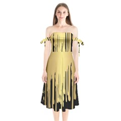 Drip Cold Shoulder Tie Bardot Midi Dress by 8fugoso