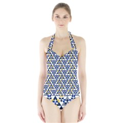 Snowflake With Crystal Shapes Halter Swimsuit