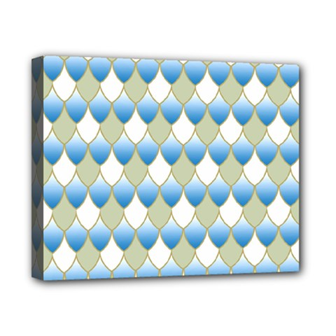 Squama Fish Blue Pattern Canvas 10  X 8  by Cveti