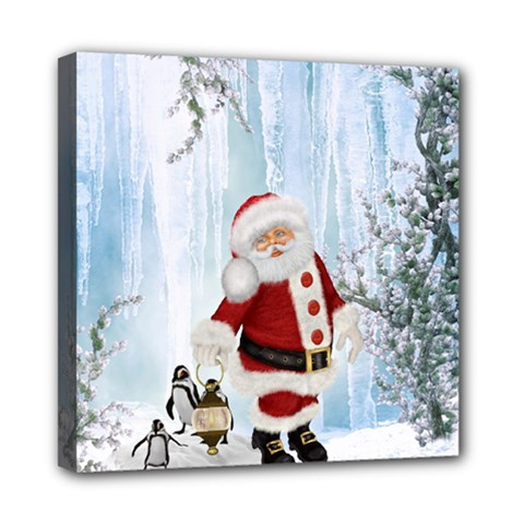 Santa Claus With Funny Penguin Mini Canvas 8  X 8  by FantasyWorld7