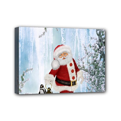 Santa Claus With Funny Penguin Mini Canvas 7  X 5  by FantasyWorld7