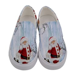Santa Claus With Funny Penguin Women s Canvas Slip Ons