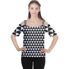 Diamond Pattern Black White Cutout Shoulder Tee by Cveti