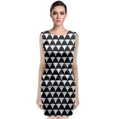 Diamond Pattern Black White Sleeveless Velvet Midi Dress