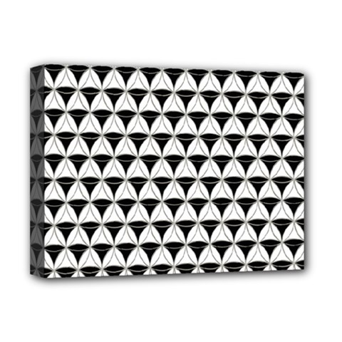 Diamond Pattern White Black Deluxe Canvas 16  X 12   by Cveti