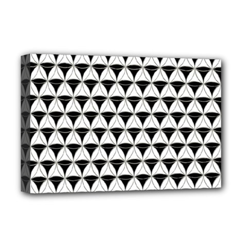 Diamond Pattern White Black Deluxe Canvas 18  X 12   by Cveti