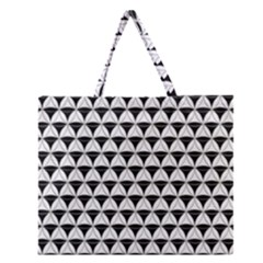 Diamond Pattern White Black Zipper Large Tote Bag by Cveti