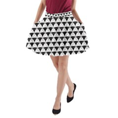 Diamond Pattern White Black A-line Pocket Skirt