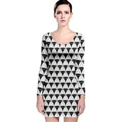 Diamond Pattern White Black Long Sleeve Velvet Bodycon Dress by Cveti