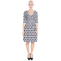 Diamond Pattern White Black Wrap Up Cocktail Dress by Cveti