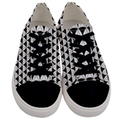 Diamond Pattern White Black Men s Low Top Canvas Sneakers