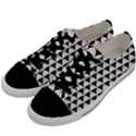 Diamond Pattern White Black Men s Low Top Canvas Sneakers View2
