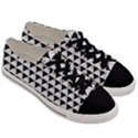 Diamond Pattern White Black Men s Low Top Canvas Sneakers View3